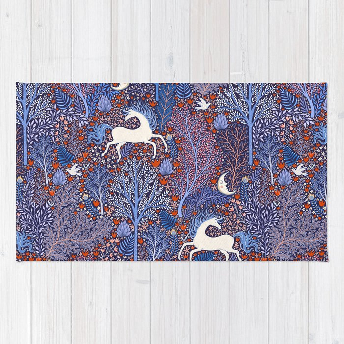 Unicorns in a nocturnal Forest Rug