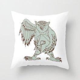 Owl Holding Spartan Helmet Drawing Throw Pillow
