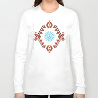 southwest Long Sleeve T-shirts featuring Southwest - Blue Hopi Sun by Mia Valdez