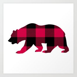 Buffalo Plaid Bear Art Print