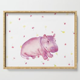 Pink Fiona Hippo Flower Painting Serving Tray