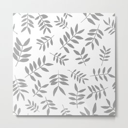 Gray branch silhouettes on white background Metal Print