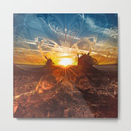 The Shattered Glass Sunset Over Monument Valley Metal Print