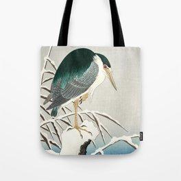Heron in snow - Japanese vintage woodblock print art Tote Bag
