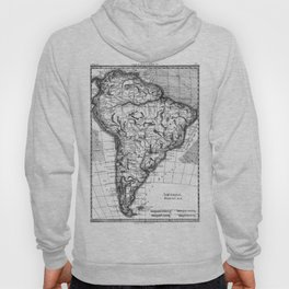 Vintage Map of South America (1780) BW Hoody