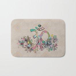 OM symbol  composition vintage scrapbook style with flowers Bath Mat