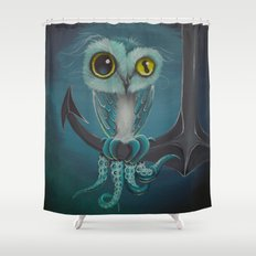 BLue Octowl Shower Curtain
