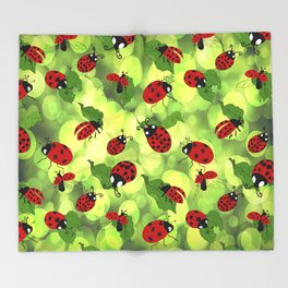 Ladybug Bubbles Throw Blanket