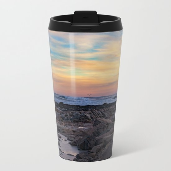 Winter Sunset at Bassrocks Metal Travel Mug