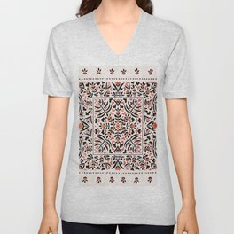 N153 - Floral Bohemian Traditional Moroccan Style Illustration Unisex V-Neck