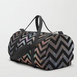 Abstract black pink teal watercolor nebula chevron Duffle Bag