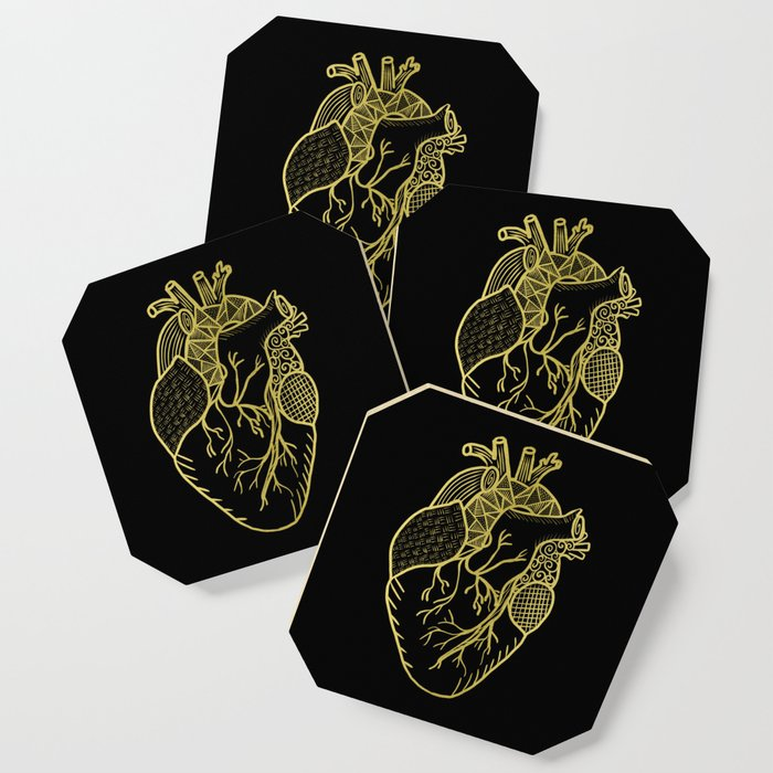 Designer Heart Gold Coaster
