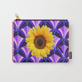Purple Geometric Sunflower Patterns on Yellow Carry-All Pouch