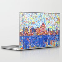 dallas Laptop & iPad Skins featuring dallas city skyline by Bekim ART