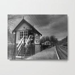 Consall signal box - mono Metal Print