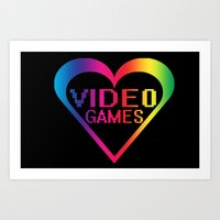 video games Art Prints featuring love video games by seb mcnulty