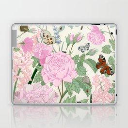 Pink flowers and butterflies Laptop & iPad Skin