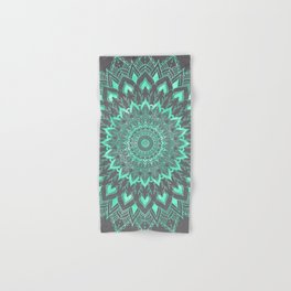 Boho turquoise watercolor floral mandala on grey cement concrete Hand & Bath Towel