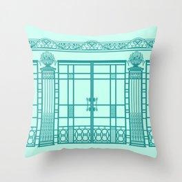 ART DECO, ART NOUVEAU IRONWORK: Blue Green Dream Throw Pillow