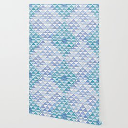 Triangle Pattern No. 9 Shifting Blue and Turquoise Wallpaper