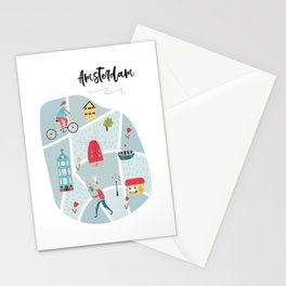 Amsterdam Map Stationery Cards