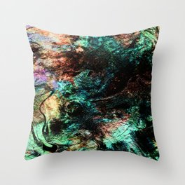 marble inks colorful texture c Throw Pillow