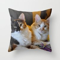whisky Throw Pillows featuring Whisky and Gypsy - Rescued by talonJstudios