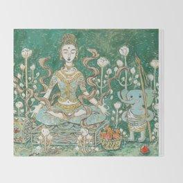 Parvati meditating with Ganesha Throw Blanket