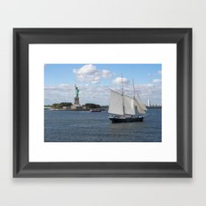 Lady Liberty at the harbor Framed Art Print