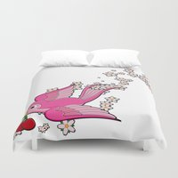 swallow Duvet Covers featuring Pink Swallow by Jelly Roger