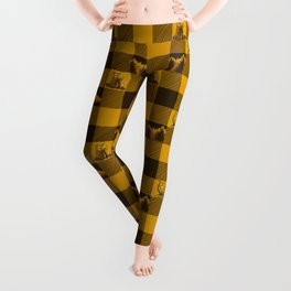 The Fox and The Bear Plaid #1 Yellow Leggings
