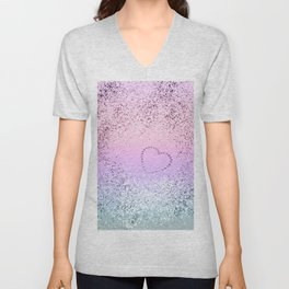 Sparkling UNICORN Girls Glitter Heart #1 #shiny #pastel #decor #art #society6 Unisex V-Neck