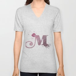 """""""M"""" Watercolour Letter Typography Illustration Hand Made Initial Unisex V-Neck"""