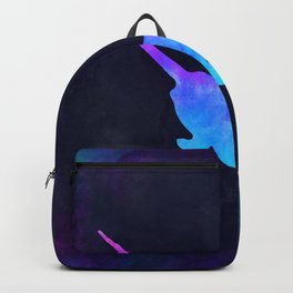 NARWHAL IN SPACE // Animal Graphic Art // Watercolor Canvas Painting // Modern Minimal Cute Backpack