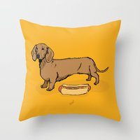 hot dog Throw Pillows featuring Hot Dog by Whale Paws