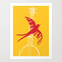 swallow Art Prints featuring Swallow by Cai Sepulis