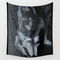 imagerybydianna Wall Tapestries featuring me and rocky; sketch study by Imagery by dianna