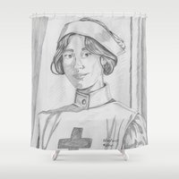 nurse Shower Curtains featuring Nurse pencil sketch by theedwardiangirl