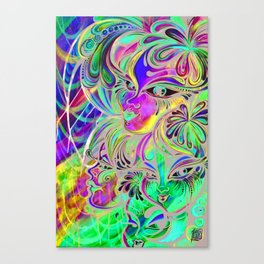Planet Claire Psychedelic Painting Canvas Print
