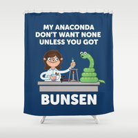 anaconda Shower Curtains featuring Unless you've got bunsen!  by Jimmy Rogers