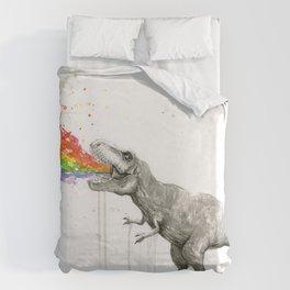 T-Rex Dinosaur Rainbow Puke Taste the Rainbow Watercolor Bettbezug