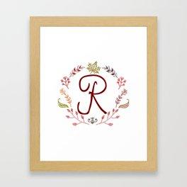 Floral R letter Framed Art Print
