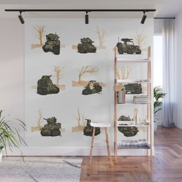 WWII COMBAT vehicles (USA) Wall Mural