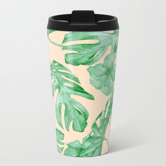 Tropical Coral Green Leaves Flower Pattern Metal Travel Mug