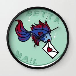 Betta Mail Nerd Pun Tee Wall Clock