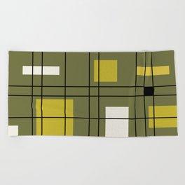 1950's Abstract Art Avocado Green Beach Towel