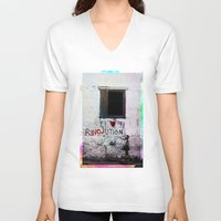 revolution V-neck T-shirts featuring rEVOLution by Bärdie D/Sign