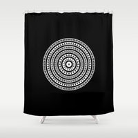 luigi Shower Curtains featuring MANDALA IM ZÜRICH by THE USUAL DESIGNERS