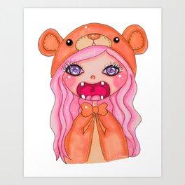 kawaii bear doll Art Print
