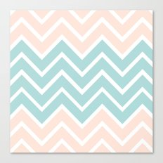 PEACH & BLUE CHEVRON Canvas Print